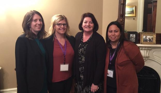 CPEDV's Krista Niemczyk, Assemblymember Toni Atkins (78th California Assembly District), CCS' Lindsay Riedel, & SHNWC's Linda Schwartz